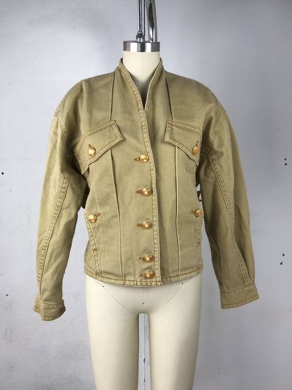 80s Pleated Khaki Jacket With Gold Buttons