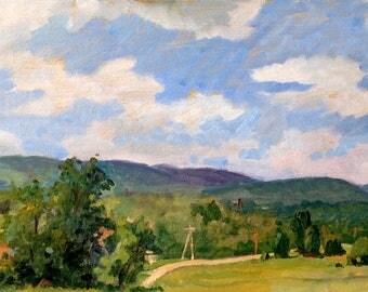 Summer Field, Berkshires in June. Realist Landscape Painting, 10x20 inch Plein Air Impressionist Oil on Panel, Signed Original Fine Art