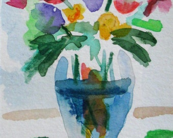 Vase of Flowers aceo artist trading card a miniature watercolor painting Art by Delilah