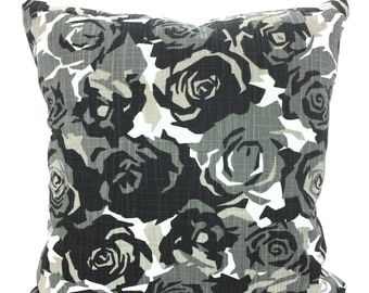 Decorative Pillow Covers Black Tan White Cushion Covers Charcoal Black Tan White Roses Slub Canvas Couch Bed Sofa Pillows Various SIZES