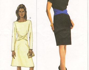 Sz 18/20/22 - Vogue Dress Pattern 7518 - Misses' Bateau Neckline, Twisted Drape Dress with Sleeve and Skirt Variations -  The Vogue Woman