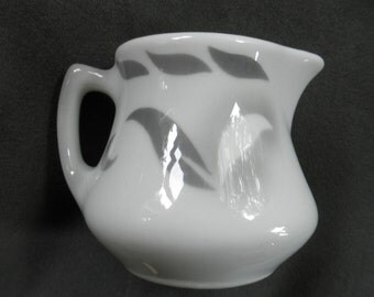 Small Vintage Jackson China Individual Restaurant Creamer / Pitcher, White with Gray Airbrushed Pattern