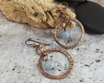 Hammered Copper Earrings, Rustic Copper Boho Hoop Earrings Angelite Gemstone. Bohemian Jewelry Dangle Copper Earrings. Womens Gift.