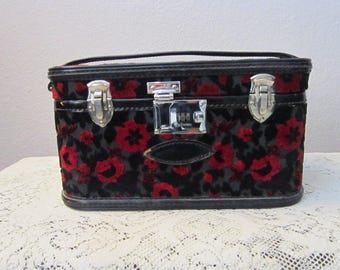 rare vintage Corbin Sesamee chenille carpet bag train case - with combination lock, leather strap - black and red