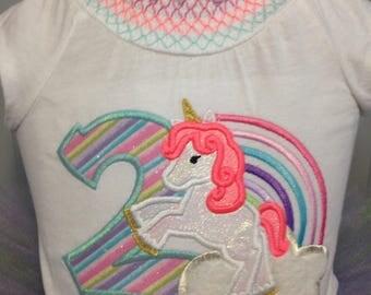 Unicorn and Rainbow birthday outfit with Rainbow Tutu