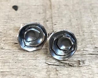 Haptic Collection Sterling Silver Organic Free Form Circle Stud Earrings | Geometric Earrings | Boho | Stud Earrings | Gifts for Her