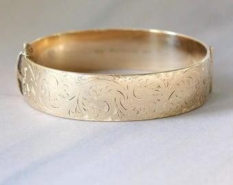 Vintage Gold Bangle, Swirling Vine Engraved Bracelet Circa 1960's 1/5th 9ct Metal Core - Billowing Swirls
