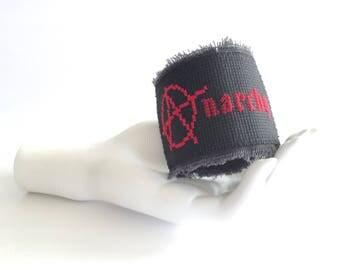 anarchy cuff bracelet // wide cuff // black cross stitch bracelet // punk rock cuff // biker bracelet // anarchy symbol // black arm cuff