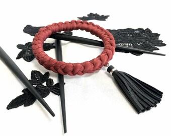 red chunky bangle // braided bangle bracelet with tassel // black tassel bracelet // red crochet bracelet // black leather tassel bangle