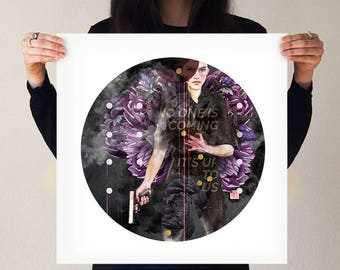 No One Is Coming It's Up To Us | Art Print Girl Woman Female Brave Courageous Strong Gun Bullets Police Badass Print Circle Purple Floral