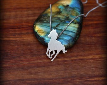 Sterling silver horse necklace, Pony necklace, Equestrian necklace