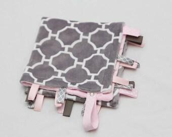 MINI Baby Ribbon Tag Blanket - Minky Binky Blankie - Gray Quatrefoil with Baby Pink