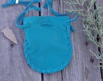 Drawstring leather pouch in turquoise blue leather , Leather crystal bag , Drawsrting medicine bag