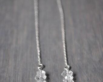 Triple Herkimer Ear Threaders in Sterling Silver - Crystal Quartz Ear Threader