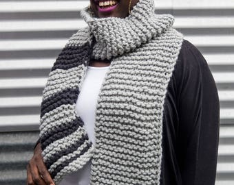 Light Grey and Black Long Unisex Fibonacci Sequence Hand Knit Scarf, Ready to ship