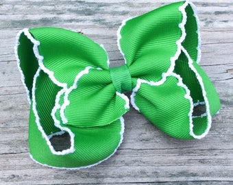 Green Hair Bow, Green Moonstitch Hair Bow, Emerald Green Hair Bow, Toddler Hair Bow, Basic Hair Bows, Green and White Hair Bow