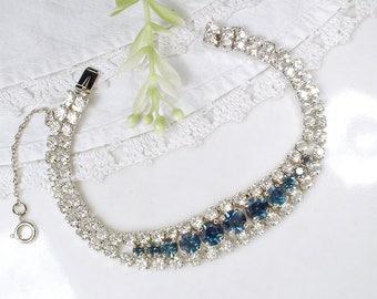 Vintage Sapphire Blue Rhinestone Bracelet, Silver Link Bracelet, Navy & Clear Crystal Bridal Bracelet Something Blue Old Wedding Jewelry