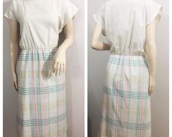 Cream Linen Plaid Dress // By Beverly