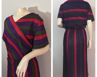 Plus Size Striped Dress // Red, Green and Purple Striped Dress