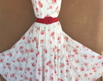 1980's -  LAURA ASHLEY White Cotton Summer Dress with Red Roses