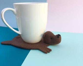 Bear Coaster by Dandyrions / Home Decor /Table Accessory / Felt cup coaster