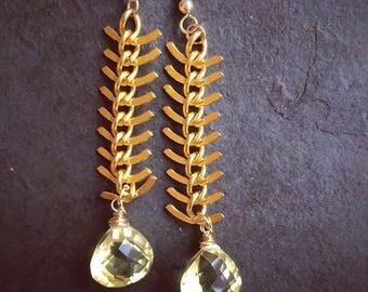 Marigold Yellow Quartz 22kt Gold Plated Fishbone Chain Earrings Glamour Magazine