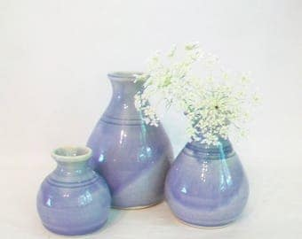 Lavender Vases - Set of 3 Vases  - Handmade, Wheel-thrown, Actual Set - Ready to Ship