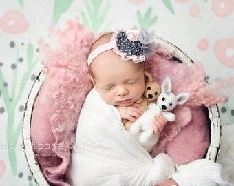Silvery Snow - chiffon satin rose and rosette flower headband
