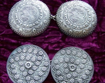 2 pair Art Nouveau Art Deco circular belt buckles or cloak clasps Celtic design