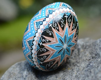 Easter Egg Blue Brown Pysanka Best seller Ukrainian Easter egg chicken egg shell made in Canada by Toronto artist Katya Trischuk