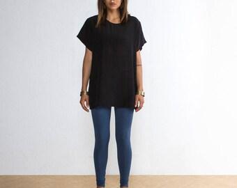 Silk Top - Black Oversized Top - Black Silk Top - Black Silk Tee - Black Top