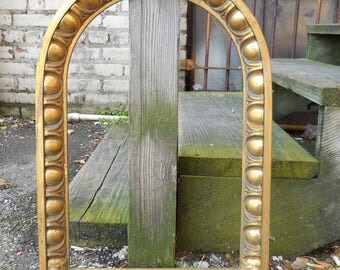 Antique brass frame Arch cathedral church architectural salvage wall mount Victorian framing supplies