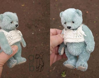 Sterling, Miniature Blue Mohair Artist Teddy Bear from Aerlinn Bears