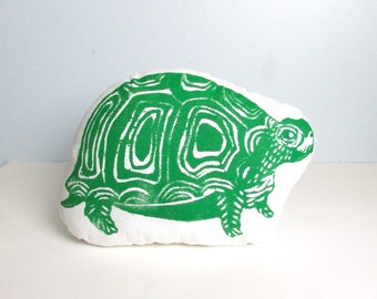 Turtle Shaped Animal Pillow. Hand Woodblock Printed. Choose Any Color. made to order.