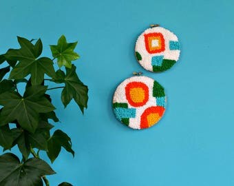 Punch needle embroidery hoop art. Geometric textured yarn wall decor. Textile art. Retro tactile fiber art. Set of 2