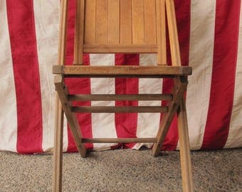 Vintage Deck Chair Antique Wooden Folding Chair 19th Century Simmons Company Kenosha Wisconsin