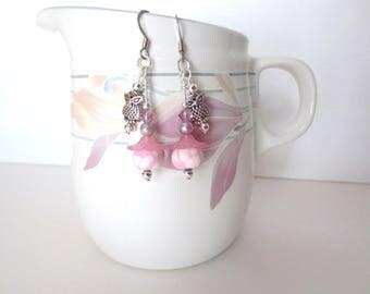 Pink Flower Owl Earrings - Cute Kawaii Earrings - Silver Hoot Owl Charms - Flowered Dangle Earrings