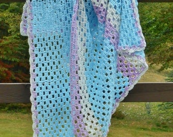 Crochet Baby Blanket Blue Purple Gray Stripe Boy Colors Unisex Handmade Gift Afghan