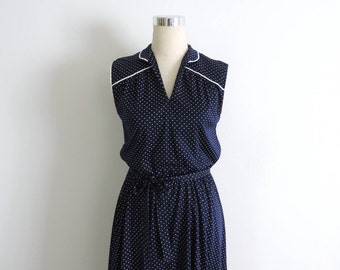 Navy Blue Polka Dot Dress Small