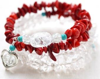 Red Coral Bracelet Clear Rock Quartz Crystal Bracelet Blue Turquoise Genuine Gemstone Sterling Silver Wrap Bracelet Heart Charm Gift for her