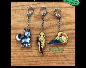 "2"" Double Sided Charms - german shepherd,husky,puppers,puppy,hairy puss caterpillar,conure,sun conure,jenday,caterpillar,yellow"