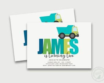 Dump Truck Birthday Invitation, Boy Birthday Invitation, Custom Name Invitation, Blue and Green, Printable, 1061
