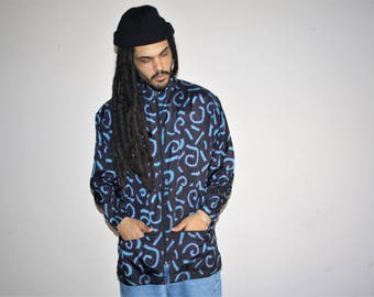 Long Tribal Graphic 1990s Vintage Reebok Colorblock Hip Hop Windbreaker Jacket - 90s Clothing - MV0411