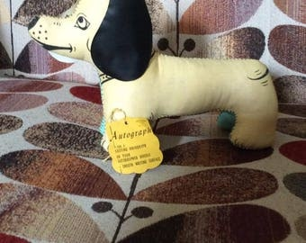 "Vintage 1950s Dog Autograph ""Daxie"" Dachshund Stuffed Toy Dog Deadstock/Never Used With Original Tag Adorable Toy N.Y.C."