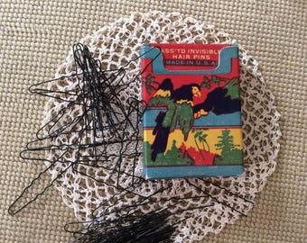 Vintage 1920s 1930s Box Of hair Pins Ass'td Invisible Hair Pins Parrot Art Deco Graphics On The Box Contains 61 Pins (INVENTORY #1)