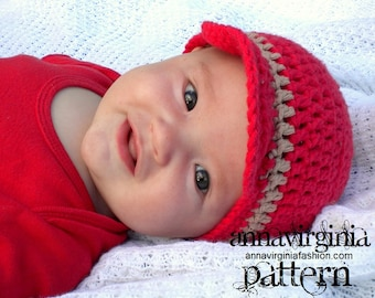 CROCHET PATTERN Brimmed Baby Boy Hat - PDF Crochet Pattern