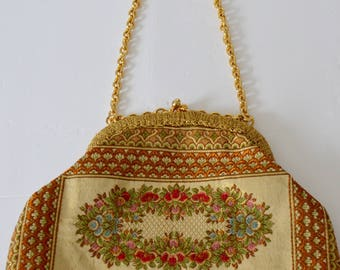 Italian Upholstery Metallic Petit Point Needle Tapestry Gold Chain Petit Point Top handle Purse Handbag