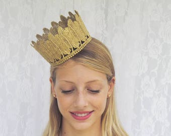"""Bohemian Gold Lace Crown -""""Feather Crown""""  - princess, queen, royal, costume crown,macabre"""