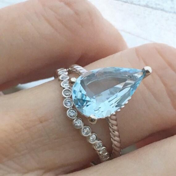 Pear Aquamarine Rope Style Ring and Diamond Band