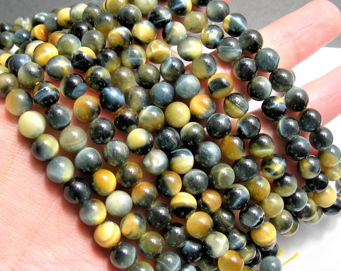 Golden Blue tiger eyes  - 8 mm round beads - full strand - 48 beads - AA quality - Yellow tiger eyes - RFG1555